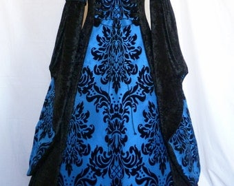 Goth black and blue taffeta hooded velvet dress, medieval gown, pagan costume, handfasting dress Renaissance wedding custom made to any size