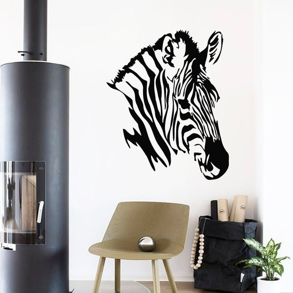 Zebra Head Wall Decor : Wall decals zebra head animals home vinyl by decalmyhappy