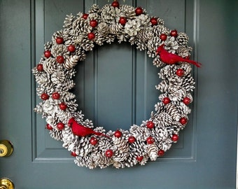 Winter Red Cardinal and Pinecone Wreath!