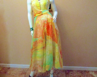 70s Yellow Silk Jersey Dress. Modest Halter Dress. Disco Salsa Dance Dress. Destination Wedding Guest Dress. Vintage Don Luis De Espana XS