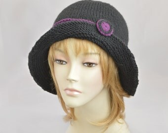 Black Knit Hat, Womens Knit Hat, Beanie for Women, Winter Hat, Knit Beanie Hat, Womens Hat