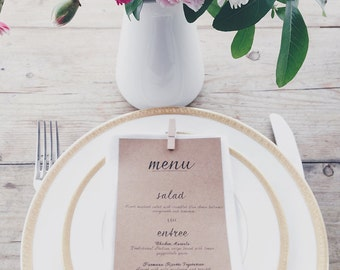 Wedding Menu - Printable - DIY Custom Wedding Decoration Favour