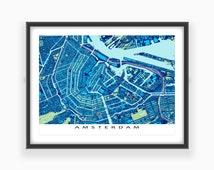 Amsterdam Art Print, Amsterdam Map, The Netherlands, Holland, Blueprint
