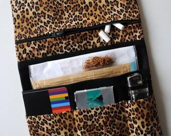 Tobacco pouch tobacco pouches Leno bag cotton animal print LEO beige brown black tobacco pouch