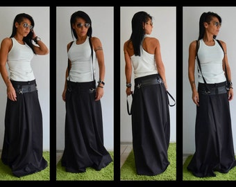 Low rise skirt/ Black long skirt/Long maxi skirt /black skirt/Extravagant Long Skirt/Woman long skirt
