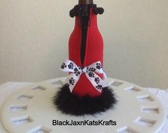 Embellished Beer Bottle Huggie/University of Georgia Bulldog inspired/Red and black