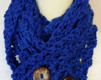 Free shipping, Royal blue wrap cowl, bamboo buttons, cozy cowl, winter scarf