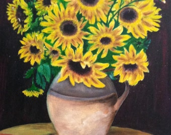 "SUNFLOWERS handmade oil painting, 16""x20"""