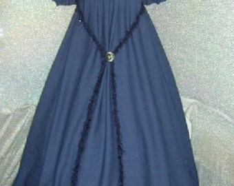 Civil War / Renaissance chemise  navy blue  cotton blend  day dress /  under gown