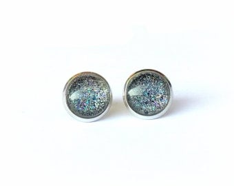 Stud earrings, post earrings, small stud, resin earrings, silver plated, tiny stud, gift for her, earring stud