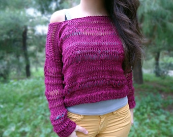 Women's knit cotton top, lace knit sweater, hand knitted jumper, cotton knit short sweater, knit blouse, spring knit jumper,women's knitwear