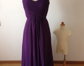 Long Sweetheart Strapless Purple Chiffon Custom Bridesmaid Dress