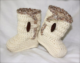 Crochet Ugg Boots for baby/infant, Cream