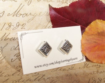 Small Silver Square Stud Earrings - antique style silver studs