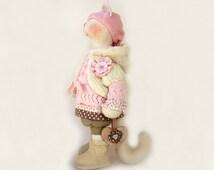 "Artist Stuffed cat doll Melissa Wooden heart Handmade doll OOAK cat 19"" 49cm cat Creamy Pink Soft Toy cat Cloth toy cat fabric doll pussycat"