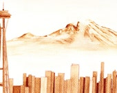 Space Needle/Mount Rainier coffee painting, Seattle, WA skyline, 8x10 painting with 11x14 white mat, original artwork