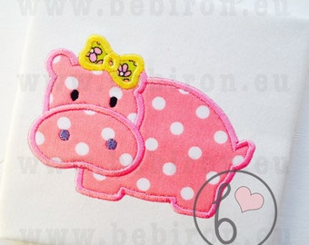 Hippo Girl Applique Design Machine Embroidery Pattern Instant Download