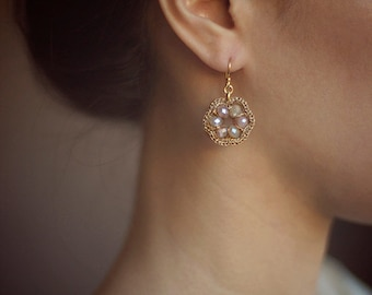 GOLD DROP EARRINGS / gold and crystal bridal handmade jewelry / gold dangle earrings