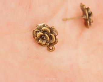 10 pcs 12mm antique bronze Flower Stud Post Earrings Findings 7.5x14mm
