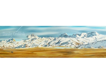Art print / Mt. Everest, Makalu, Lhotse and Cho Oyu painting / Tibet landscape painting / Eight-thousanders / Himalayas mountains / Giclee