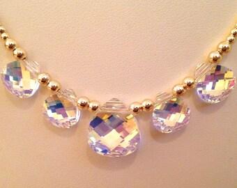 Swarovski Crystal AB 5 Stone Necklace