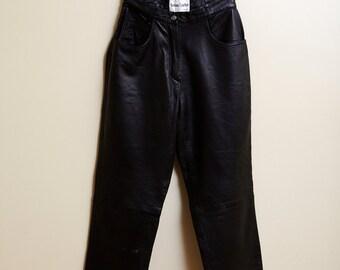 1980s Keenan Black Leather Pants • 12