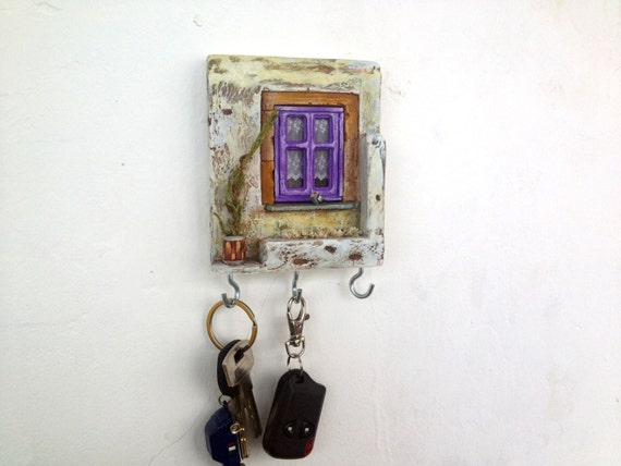 Wall Key Holder Miniature Ceramic Pottery House White Lilac