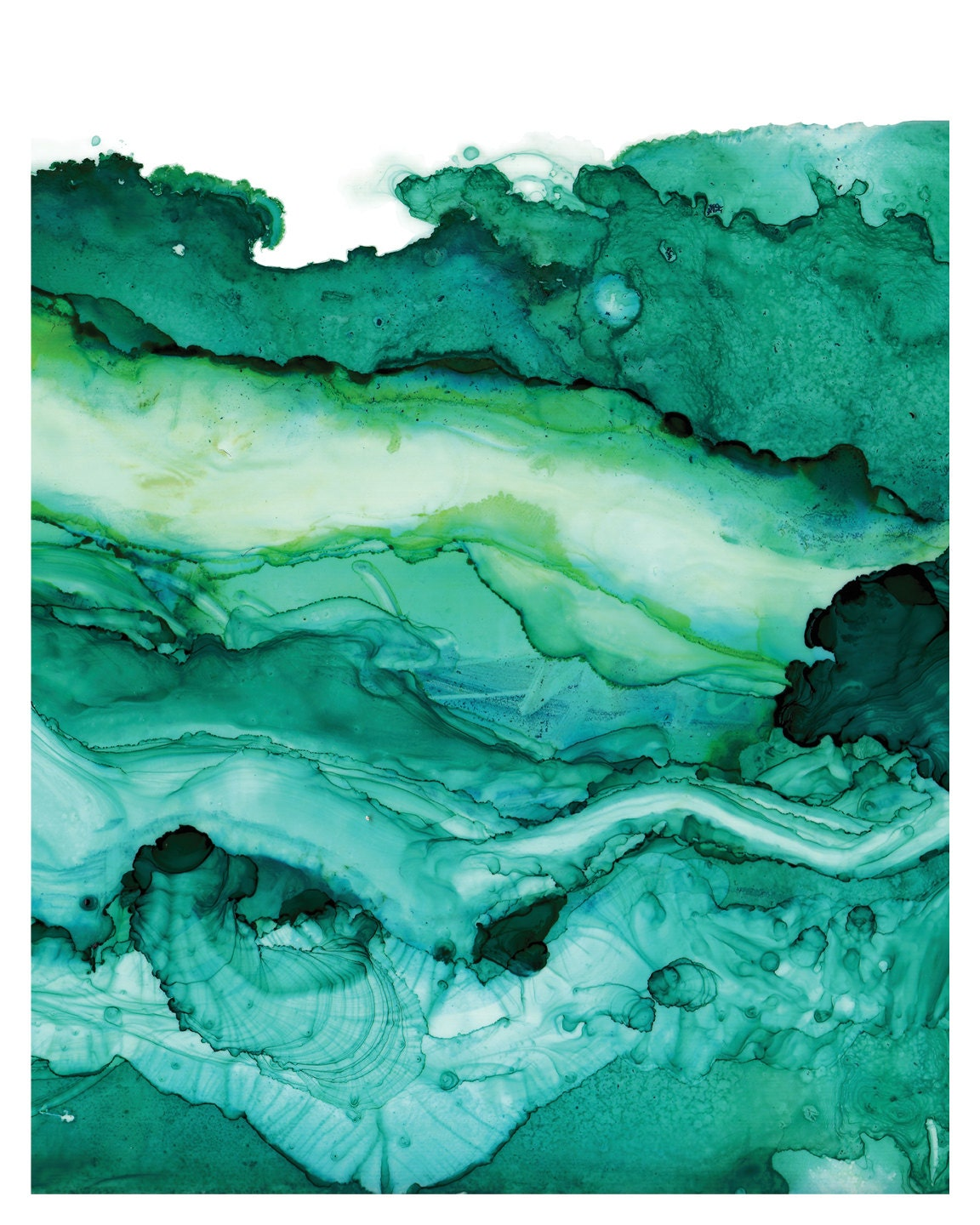 Undercurrent Emerald Ink: Art Print Ocean Art Surf