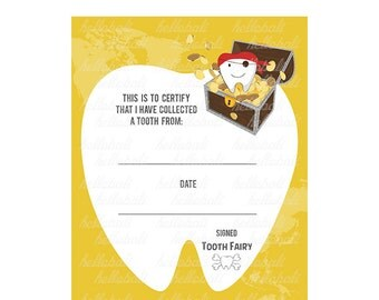 Tooth Fairy Certificate Clip art! Boy Scrapbook Illustration, ClipArt, Letter Keepsake, Floss, Tooth, Treasures Map, Gold [Instant Download]