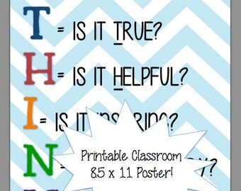 Chevron Classroom THINK Printable Poster