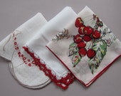 Vintage Handkerchiefs SET OF 3 Red & White with Cherries