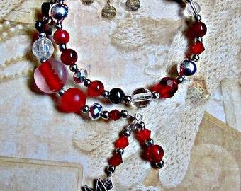 Fairy bracelet,Red faerie bracelet,Red fae bracelet