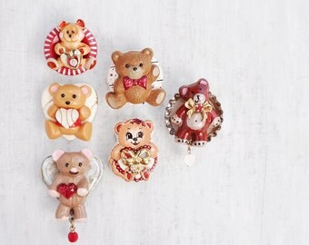 6 Teddy Bear Fridge Magnets - recycled vintage buttons and jewelry - childrens baby nursery room decor