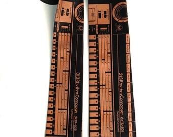 """808 necktie. Vintage synthesizer, drum machine silkscreen tie. """"deTR-808"""" men's tie. Ultimate Detroit Techno gift."""