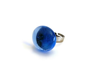Blue Ring, Adjustable Ring, Mood Ring, Statement Ring, Cocktail Ring, Ladies Ring, Blue Glass, Gifts Under 10, Blue Gem, Bridesmaid Ring