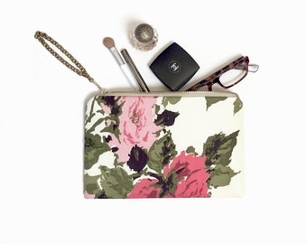 Floral clutch, Personalized Bridesmaid gift, Wedding clutch, Vintage wedding, Makeup bag, Travel bag, Clutch purse, Bridal Clutches, Handbag
