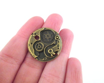 Brass watch gear cog charm pendants, Pick your amount