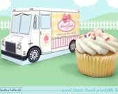 sweet treats truck -  cupcake box holds standard and mini cupcakes, cookies, candy, favors and gifts PDF kit - INSTANT download