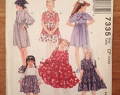 Girls' Dress and Scarf to Sew - McCall's 7335 Pattern size 4,5,6
