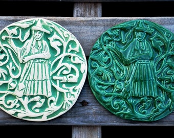 Ready to Ship - Tuscan Witch Round Tile - Carved Bas Relief Wall Plaque in Dark Green Glaze or Custom (See Listing)