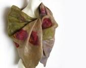 Hand Felted Scarf Merino Wool Silk Green Brown-Grey Beige Floral Rose Scarlet Pink