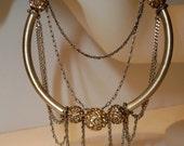 Gold Rhinestone Bracelet Vintage Gold Tubes, Rhinestone Beads, Chain Dangles on Stretchy Cord