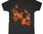 Koi Fish - Unisex Mens T-shirt Retro Tee Shirt Vintage Aquarium Japanese Rock Garden Pond Bonsai Kimono Goldfish Tri Black Charcoal Tshirt