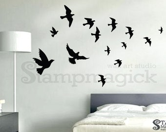 Flying Birds Wall Decal - flying sea gulls decal wall decor graphics - K196
