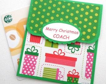 Coach Holiday Gift Card Holder - Merry Christmas Coach - Christmas Card for Coaches - Christmas Gift Idea for Coach - Soccer, Gymnastics