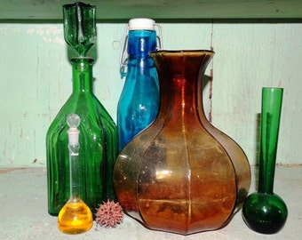 Green Glass Liquor Bottle, Reproduction Chief Wahoo Electric Tonic,  Home Decor, Bar ware, Liquor Decanter, Man-cave Decor