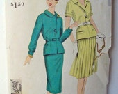 """Vogue 4080 50s Tailored French Style Suit Dress, 2 Piece Dress, Belted Jacket, Pleated or Slim Skirt Bust 38"""" vintage size 18=modern size 16"""
