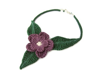 Crochet flower necklace,crochet flower choker,country necklace,country choker,purple,violet,spring gift for her