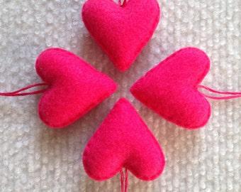 Hot pink felt heart ornaments set of four