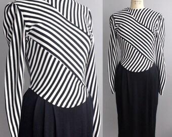 Vintage Black and White Striped Dress | Striped Bodice Knit Dress | 1980s Sweater Dress | XS-S